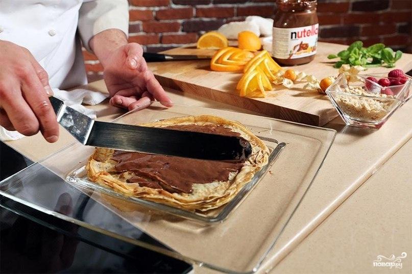 """Блинный торт с """"Нутеллой"""" - фото шаг 4"""