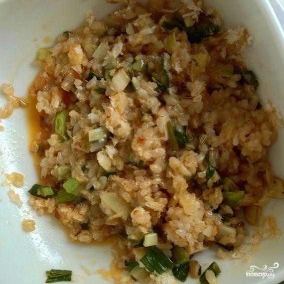 Китайская капуста, фаршированная коричневым рисом - фото шаг 4