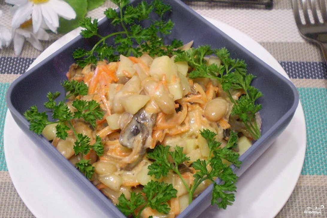 салат парус с корейской морковкой рецепт с фото