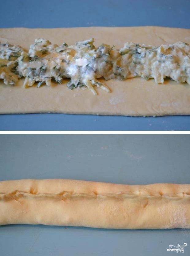 Слоеный пирог с сыром и зеленью - фото шаг 6