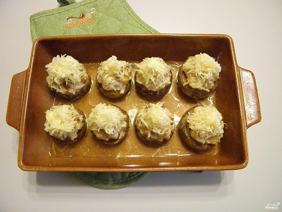 рецепт фаршированные шампиньоны с курицей в духовке рецепт