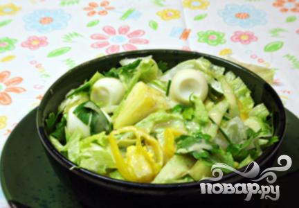 Рецепт Летний салат с латуком и ананасом
