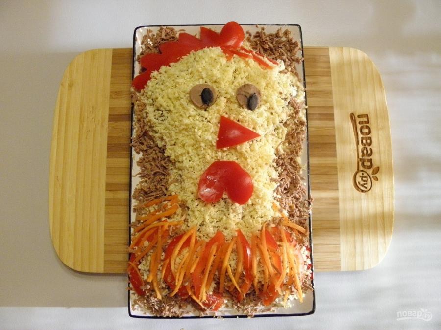 """Салат """"Петушок"""" с корейской морковкой - фото шаг 6"""