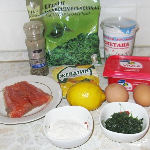 Рецепт Зеленый рулет из шпината с лососем
