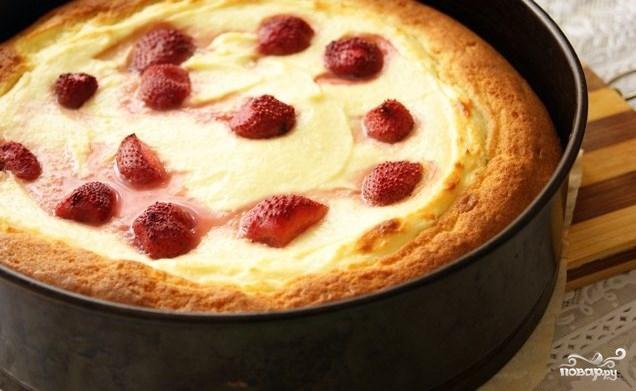 Творожный пирог с бисквитным тестом - фото шаг 9