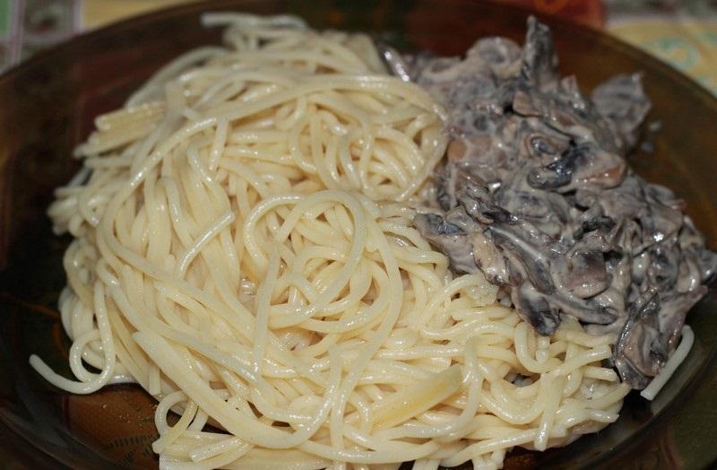 Спагетти с грибами рецепт пошагово с