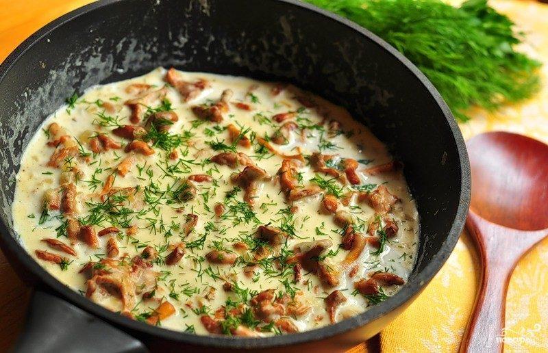 Рецепт Лисички со сливками