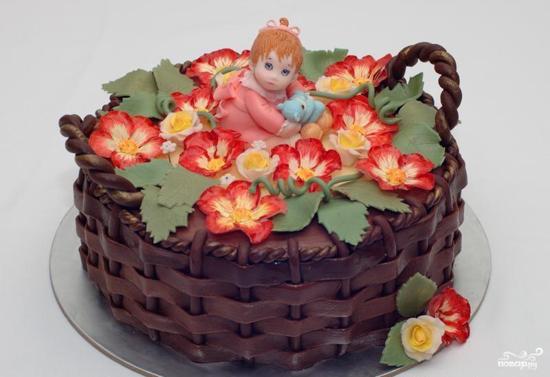 Торт корзина с цветами пошаговый