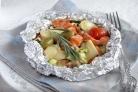 Запеченная форель с овощами и сыром Камамбер