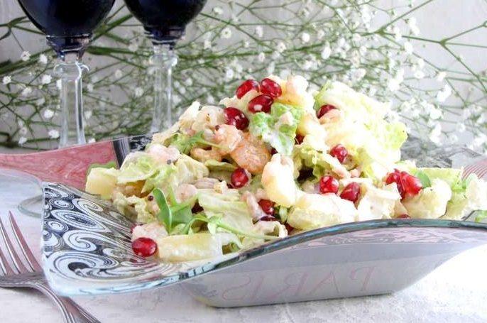 салат из пекинской капусты с креветками рецепты с