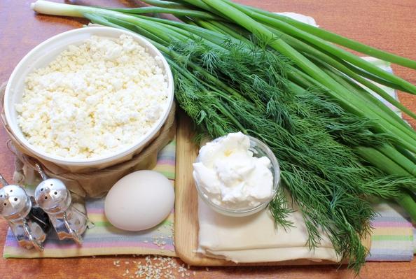 Рецепт Вертута с творогом и зеленью