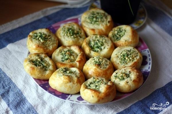 Рецепт Булочки с чесноком и зеленью