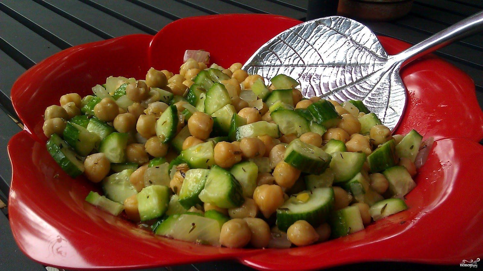 Рецепт Салат с фасолью и огурцами