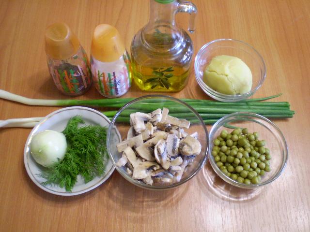 Рецепт Салат с горошком и грибами