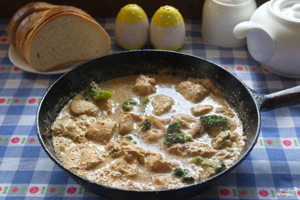 Индейка с брокколи в сливочном соусе