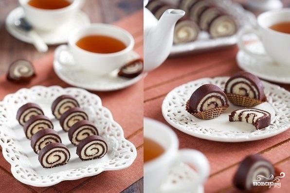 Рецепт Кокосово-шоколадные рулетики без выпечки