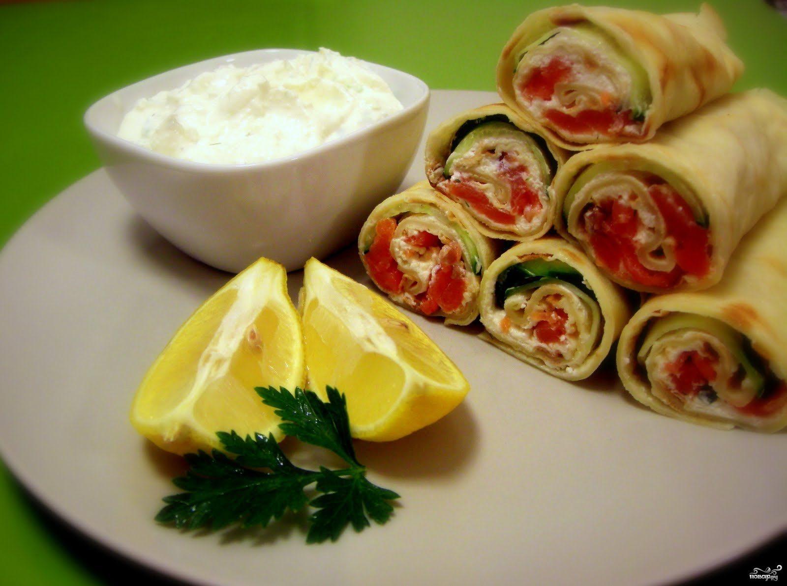 Рецепт Блины с сыром и семгой