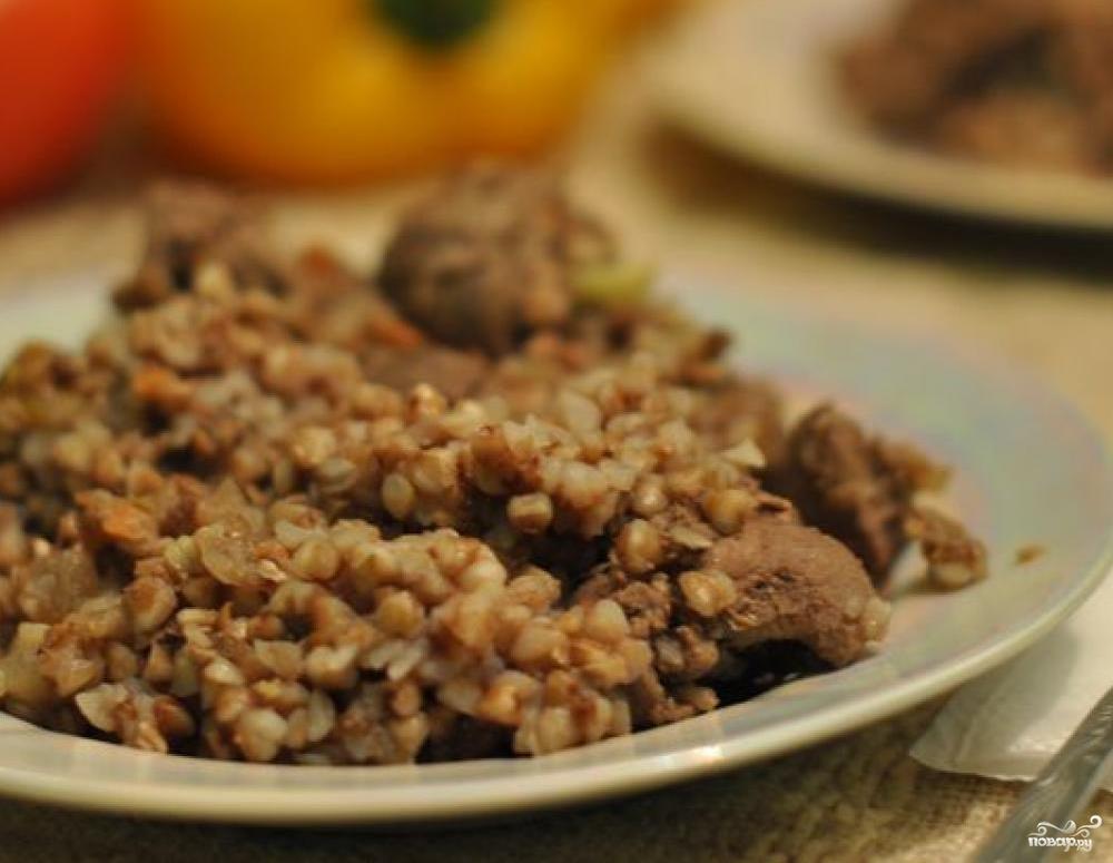Рецепт Гречка с печенью в мультиварке