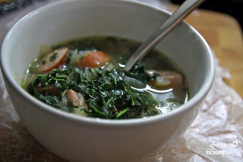 Суп с капустой кале и картофелем - фото шаг 6