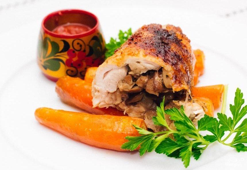 Фаршированные куриные окорочка в духовке
