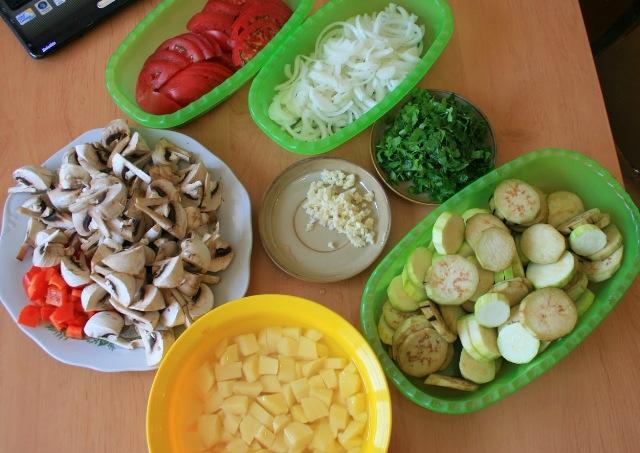 Рецепт Грибы с овощами в мультиварке