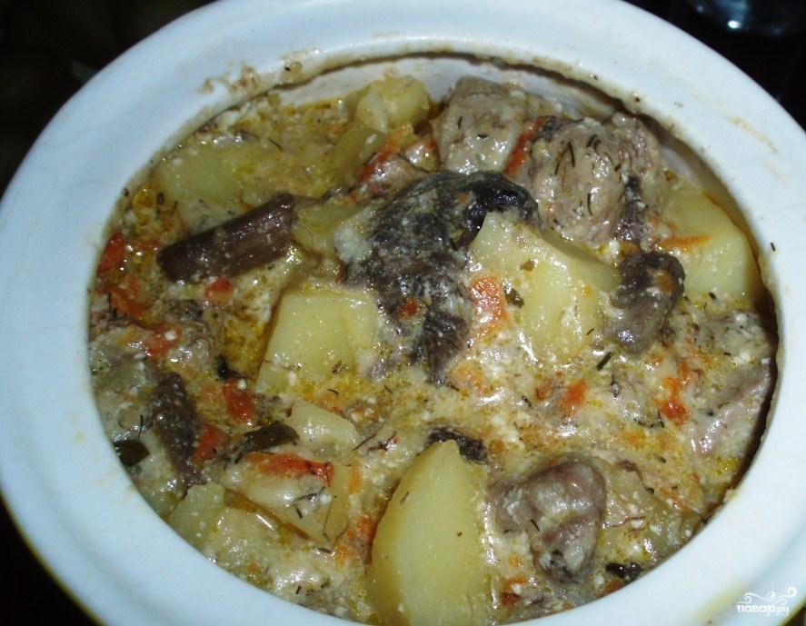 Жаркое с мясом и грибами