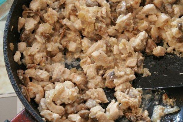 Рецепт Багет, фаршированный курочкой и грибами