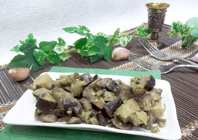 Жареные грибы с баклажанами