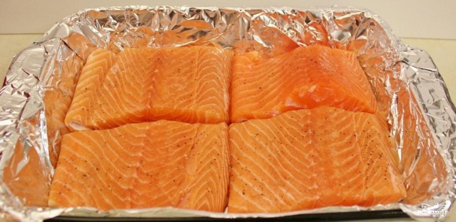 рецепт стейка из лосося в духовке фото