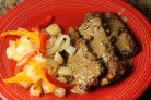 Печень говяжья с овощами