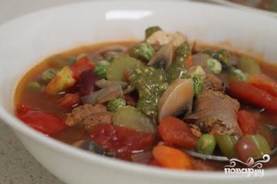 Рецепт Томатный суп с копченостями