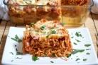 Запеченные спагетти с сосисками