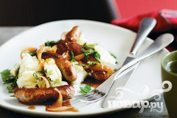 Рецепт Колбаски с пюре и подливой