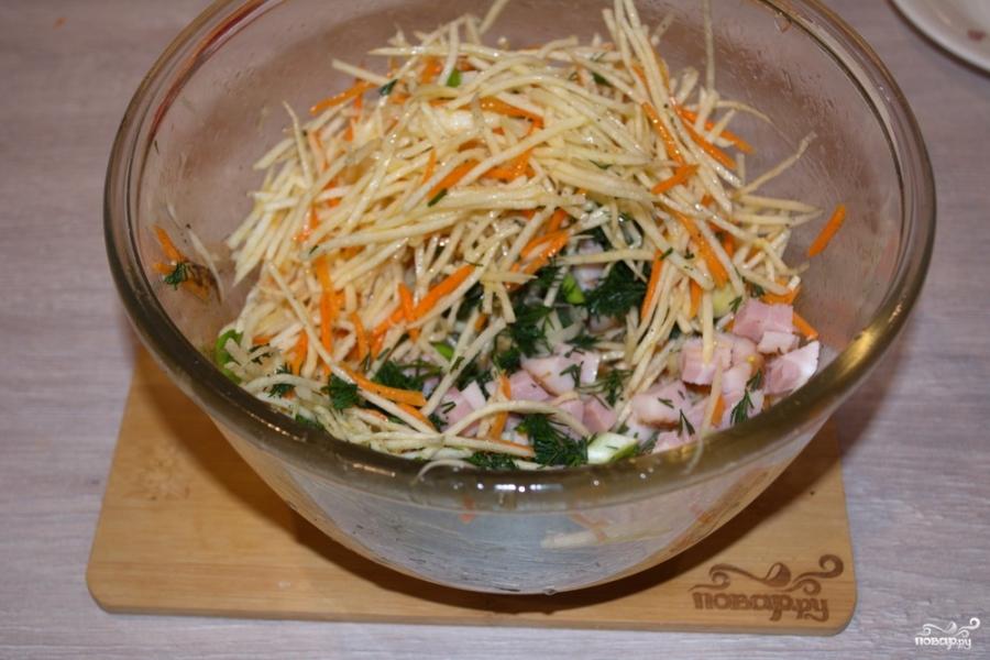 Салат из зеленой редьки - фото шаг 3
