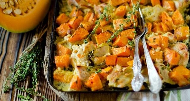 Картофель запеченный с тыквой