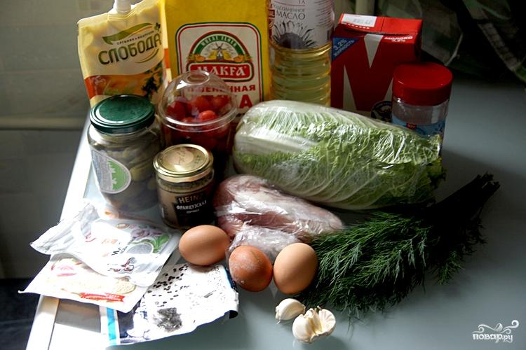 Рецепт Салат с блинами и мясом