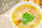 Сырный суп с сосиской