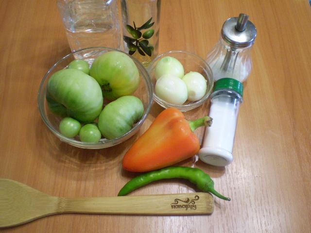 Рецепт Салат из зеленых помидоров на зиму