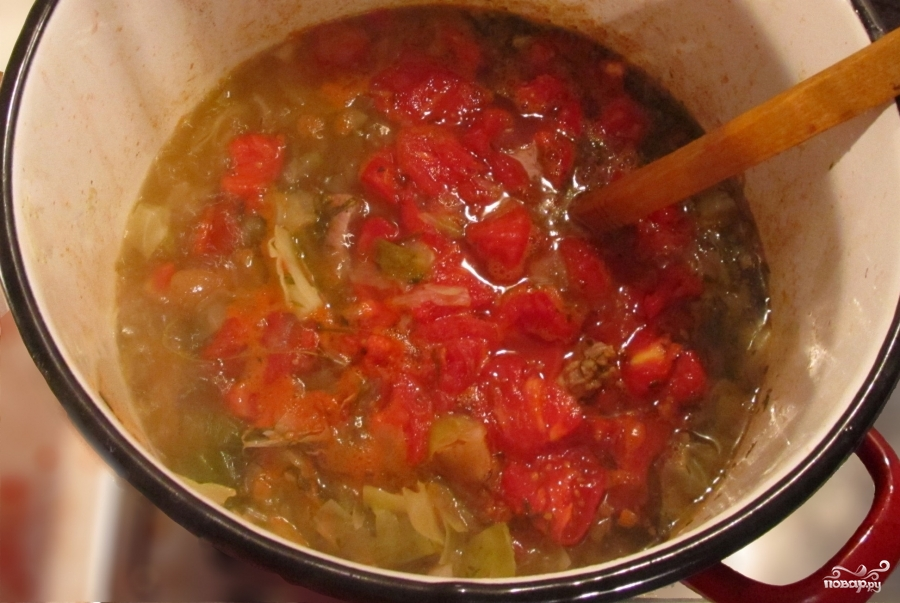 Томатный суп с капустой и мясом - фото шаг 5