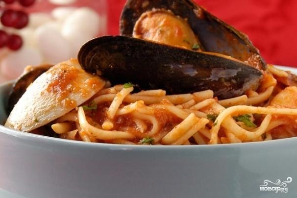 Рецепт Паста с мидиями и креветками