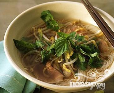 Рецепт Вьетнамский говяжий суп с лапшой с имбирем