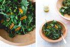 Легкий салат с зеленью, курагой и оливками