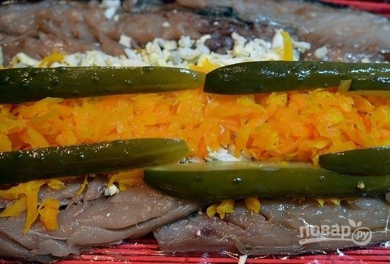 рулет из скумбрии с овощами и желатином пошаговый рецепт