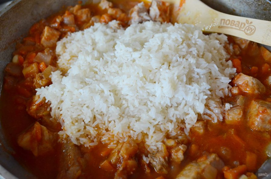 Плов с курицей с томатной пастой рецепт с пошагово