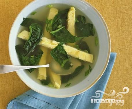 Рецепт Суп со шпинатом и яйцами