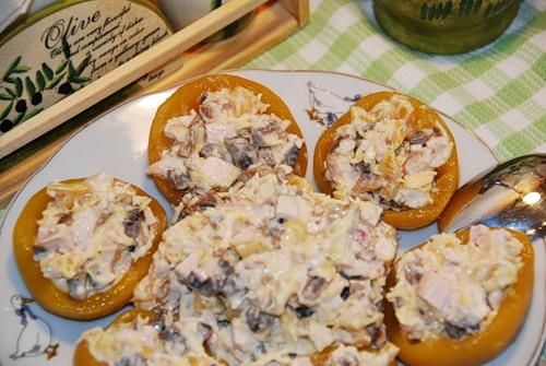 салат с консервированными персиками фото рецепт