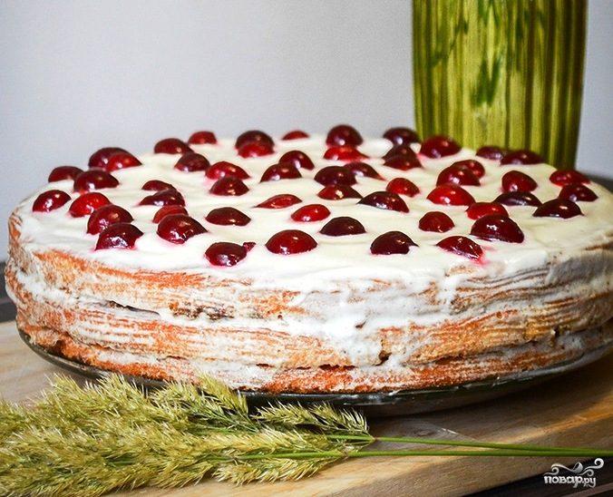 Рецепт сметанный торт с вишней пошагово