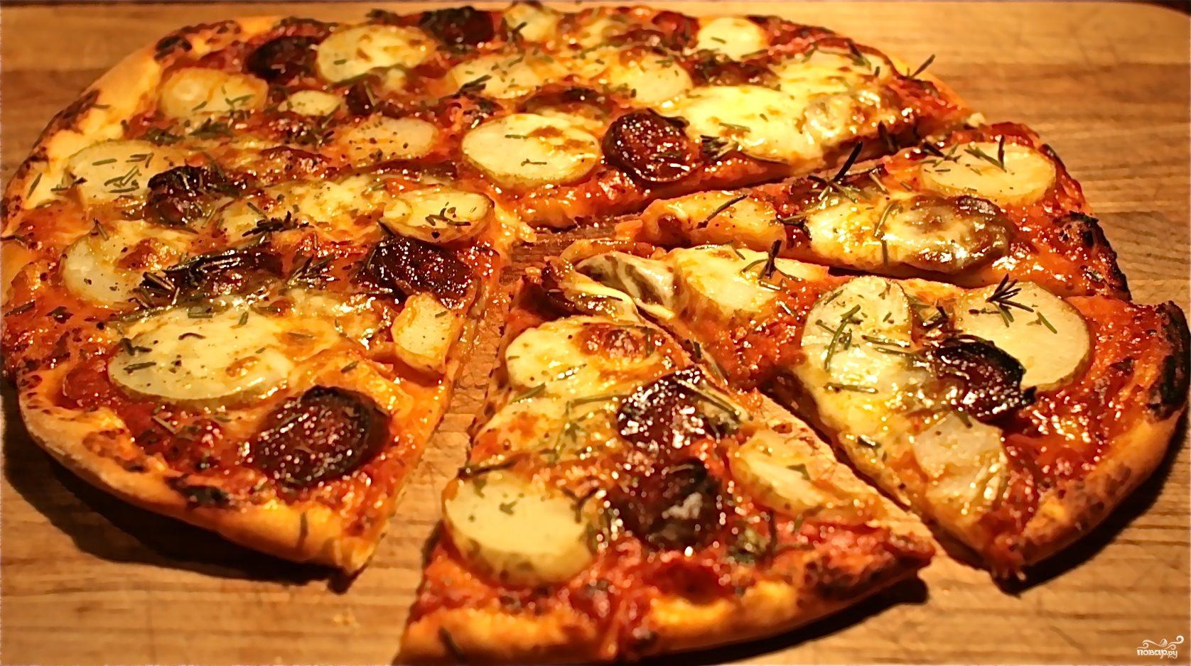 Рецепт Пицца с картошкой и колбасой