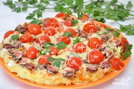 Пицца на сковороде с овощами