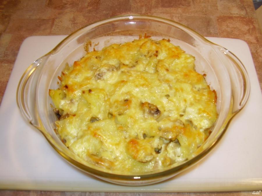 Картошка с грибами и сыром в духовке - фото шаг 7